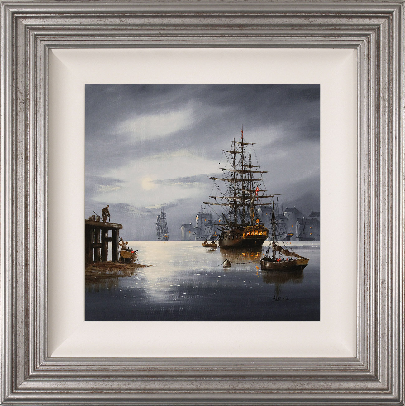 Alex Hill, Original oil painting on canvas, Moonlight Galleon , click to enlarge