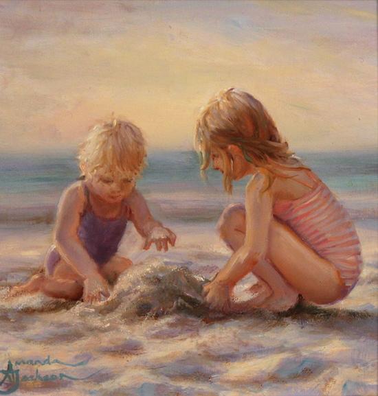 Amanda Jackson, Original oil painting on panel, The First Sandcastle