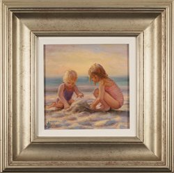 Amanda Jackson, Original oil painting on panel, The First Sandcastle