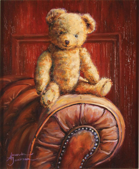 Amanda Jackson, Original oil painting on panel, Chester, A Well Loved Bear