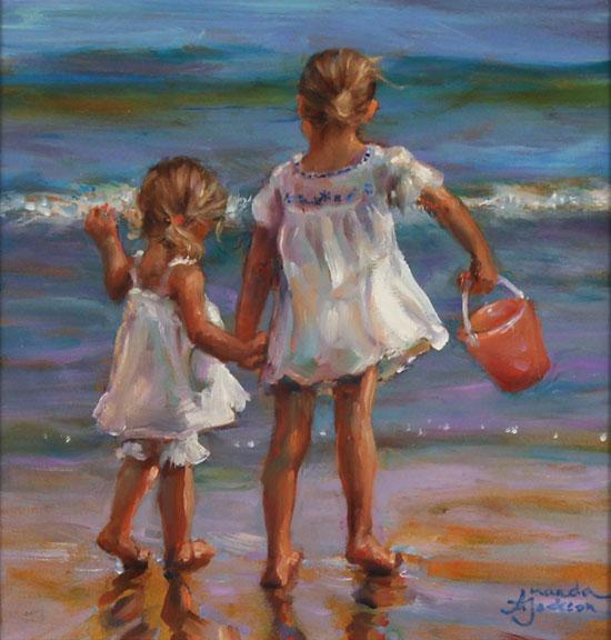 Amanda Jackson, Original oil painting on panel, Sea Breeze