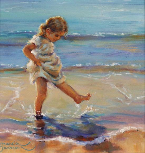 Amanda Jackson, Original oil painting on panel, Splish Splash