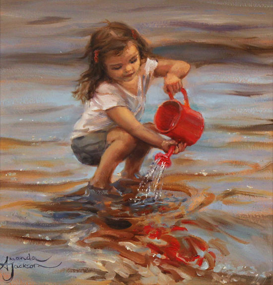 Amanda Jackson, Original oil painting on panel, The Red Watering Can No frame image. Click to enlarge