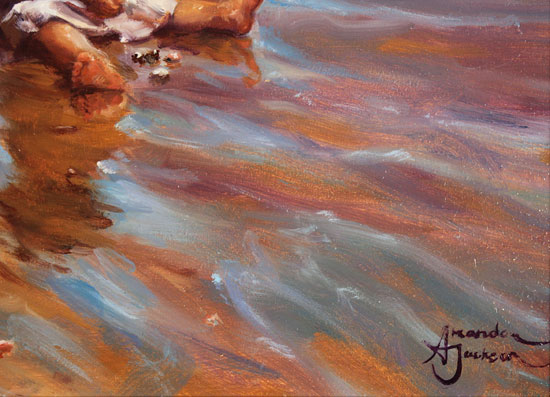 Amanda Jackson, Original oil painting on panel, Collecting Cockle Shells Signature image. Click to enlarge