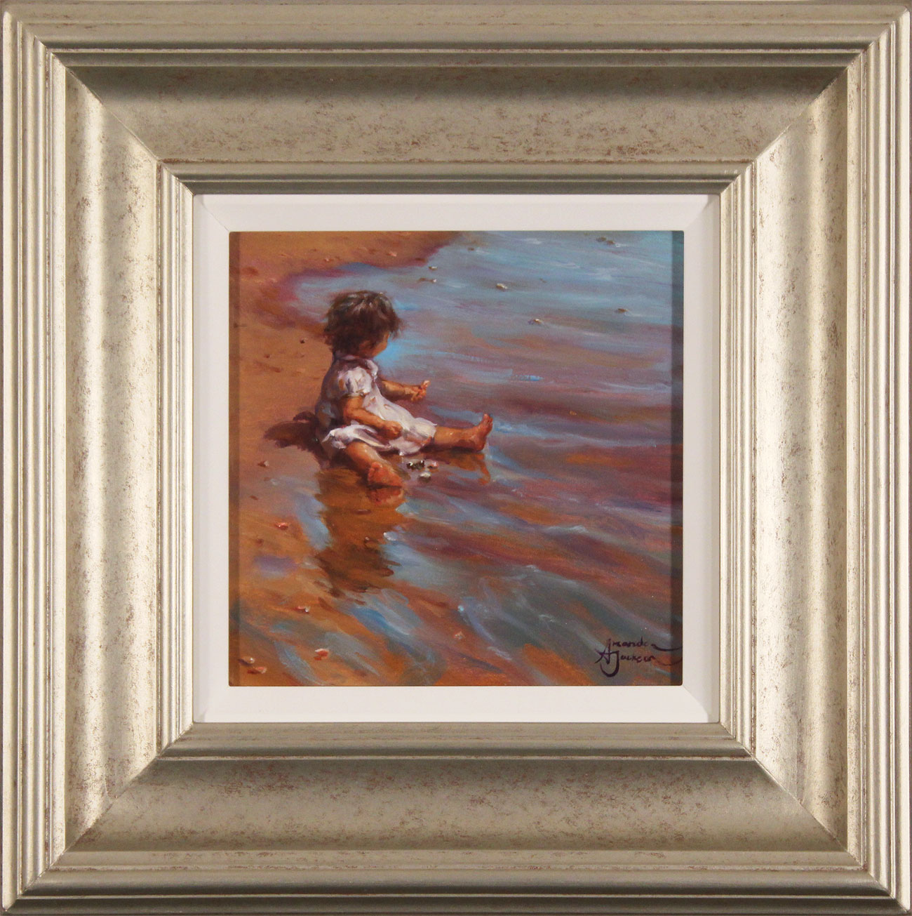 Amanda Jackson, Original oil painting on panel, Collecting Cockle Shells. Click to enlarge