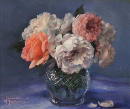 Amanda Jackson, Original oil painting on panel, Garden Roses