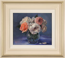 Amanda Jackson, Garden Roses, Original oil painting on panel