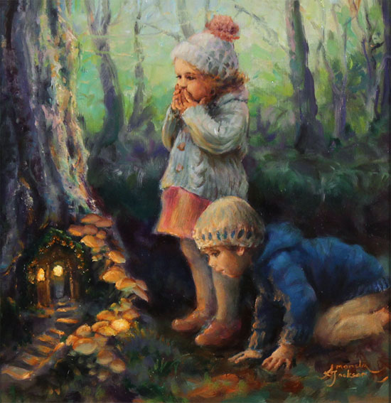 Amanda Jackson, Original oil painting on panel, The Fairy Door