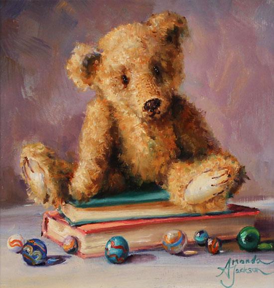 Amanda Jackson, Original oil painting on panel, Bear's Best Belongings No frame image. Click to enlarge