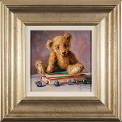 Amanda Jackson, Original oil painting on panel, Bear's Best Belongings