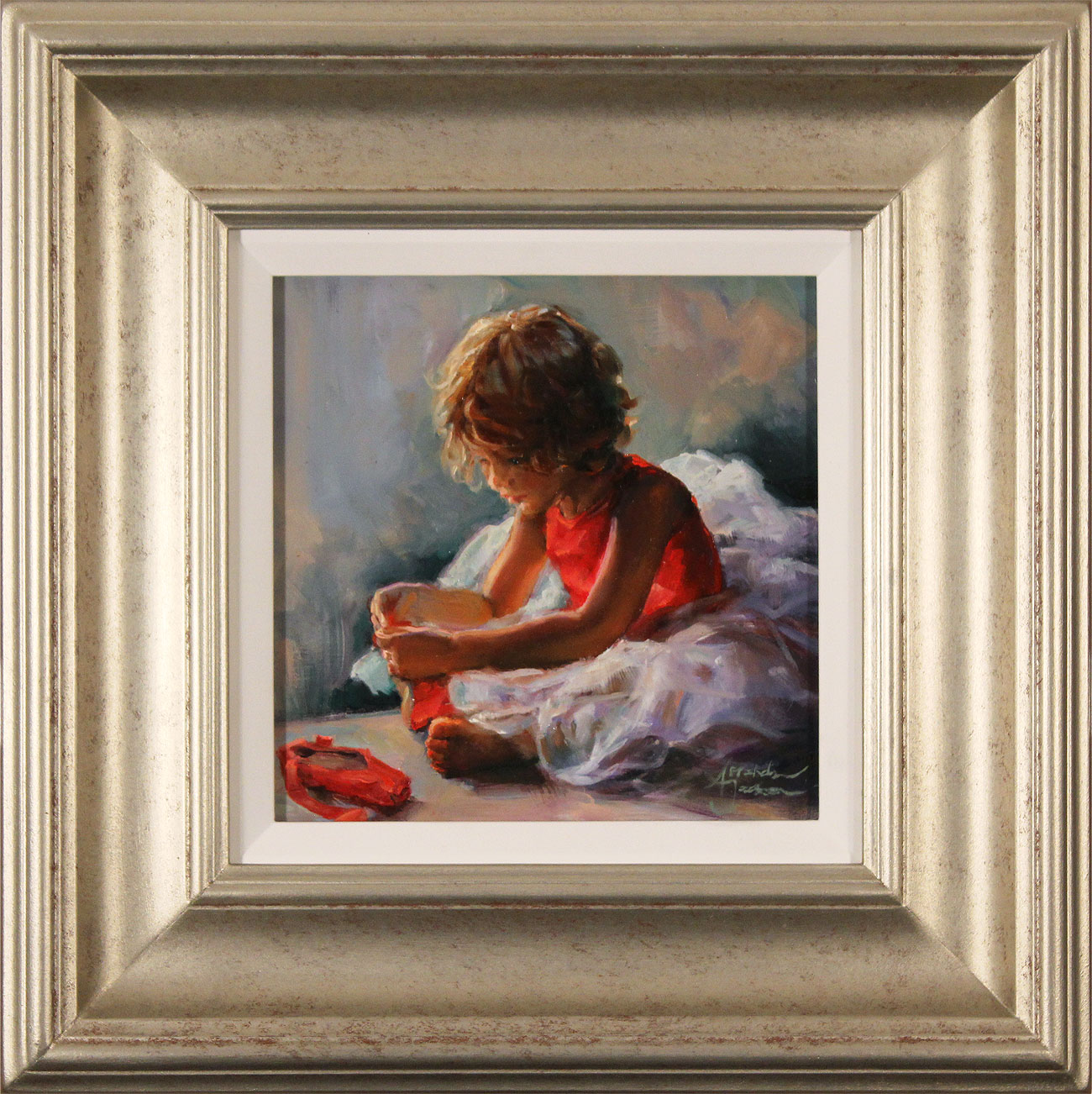 Amanda Jackson, Original oil painting on panel, Ruby Slippers. Click to enlarge