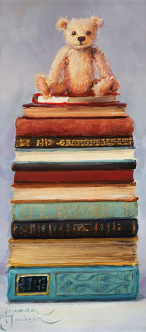 Amanda Jackson, Original oil painting on panel, Little Bear's Big Reads Without frame image. Click to enlarge