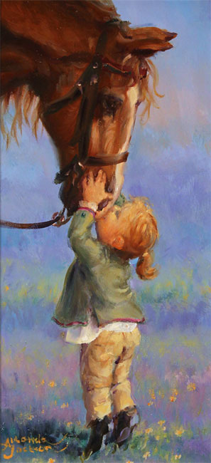 Amanda Jackson, Original oil painting on panel, Kisses for Cherry Without frame image. Click to enlarge