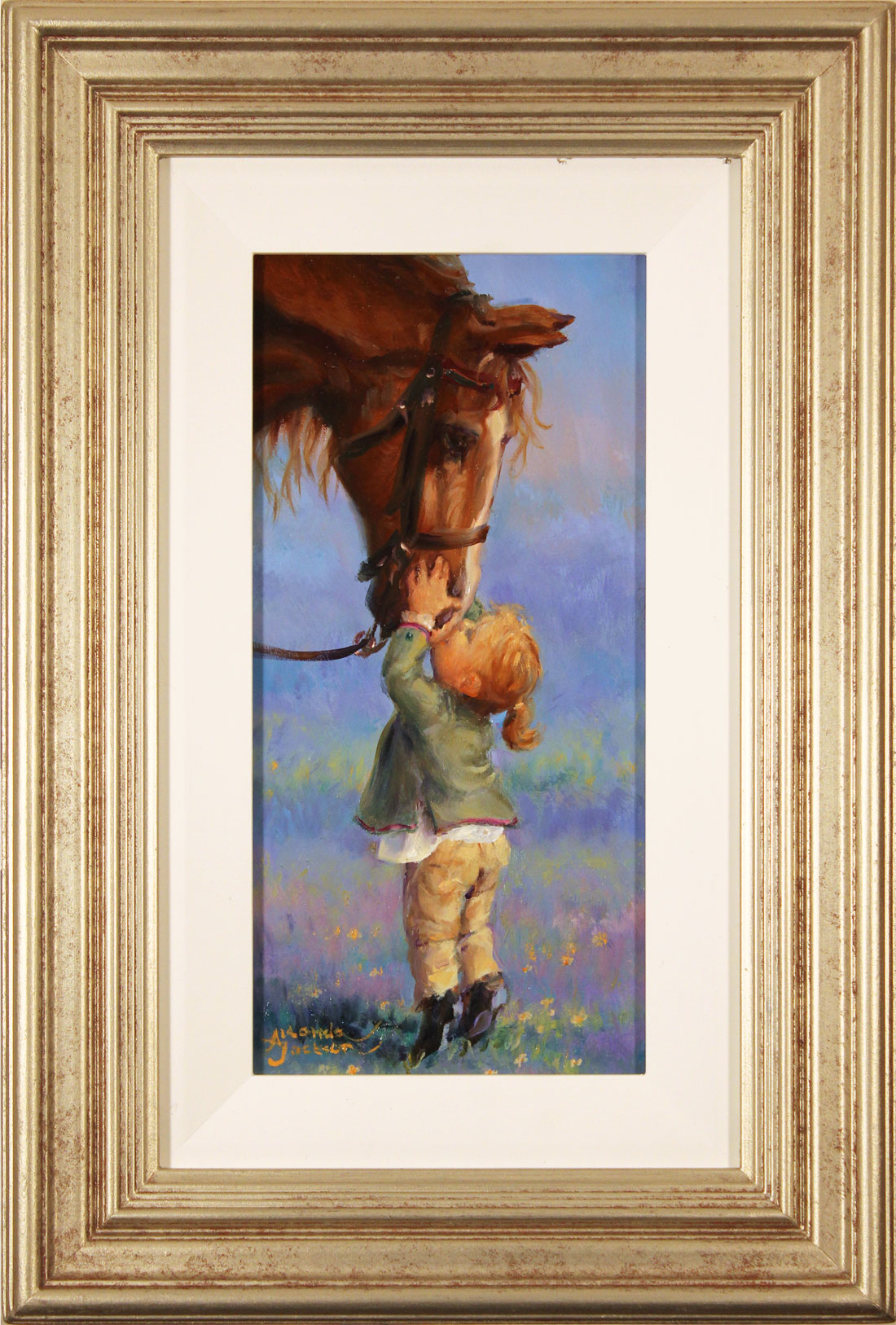 Amanda Jackson, Original oil painting on panel, Kisses for Cherry. Click to enlarge