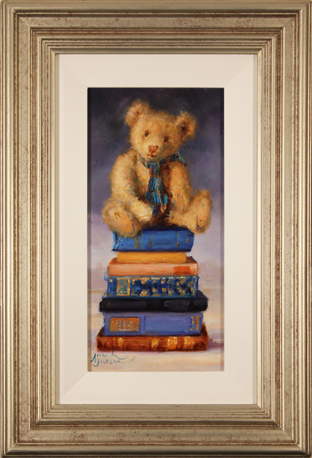 Amanda Jackson, Original oil painting on panel, Bear's Colourful Tales, click to enlarge