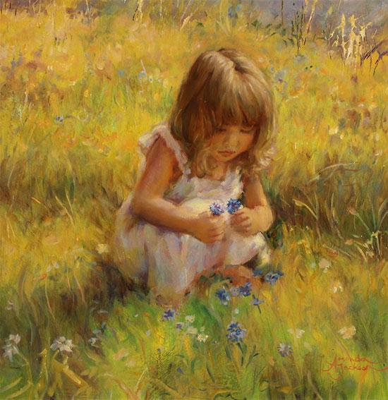 Amanda Jackson, Original oil painting on panel, Cornflowers Without frame image. Click to enlarge