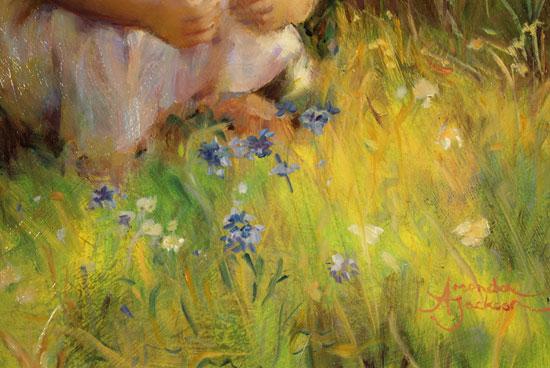 Amanda Jackson, Original oil painting on panel, Cornflowers Signature image. Click to enlarge
