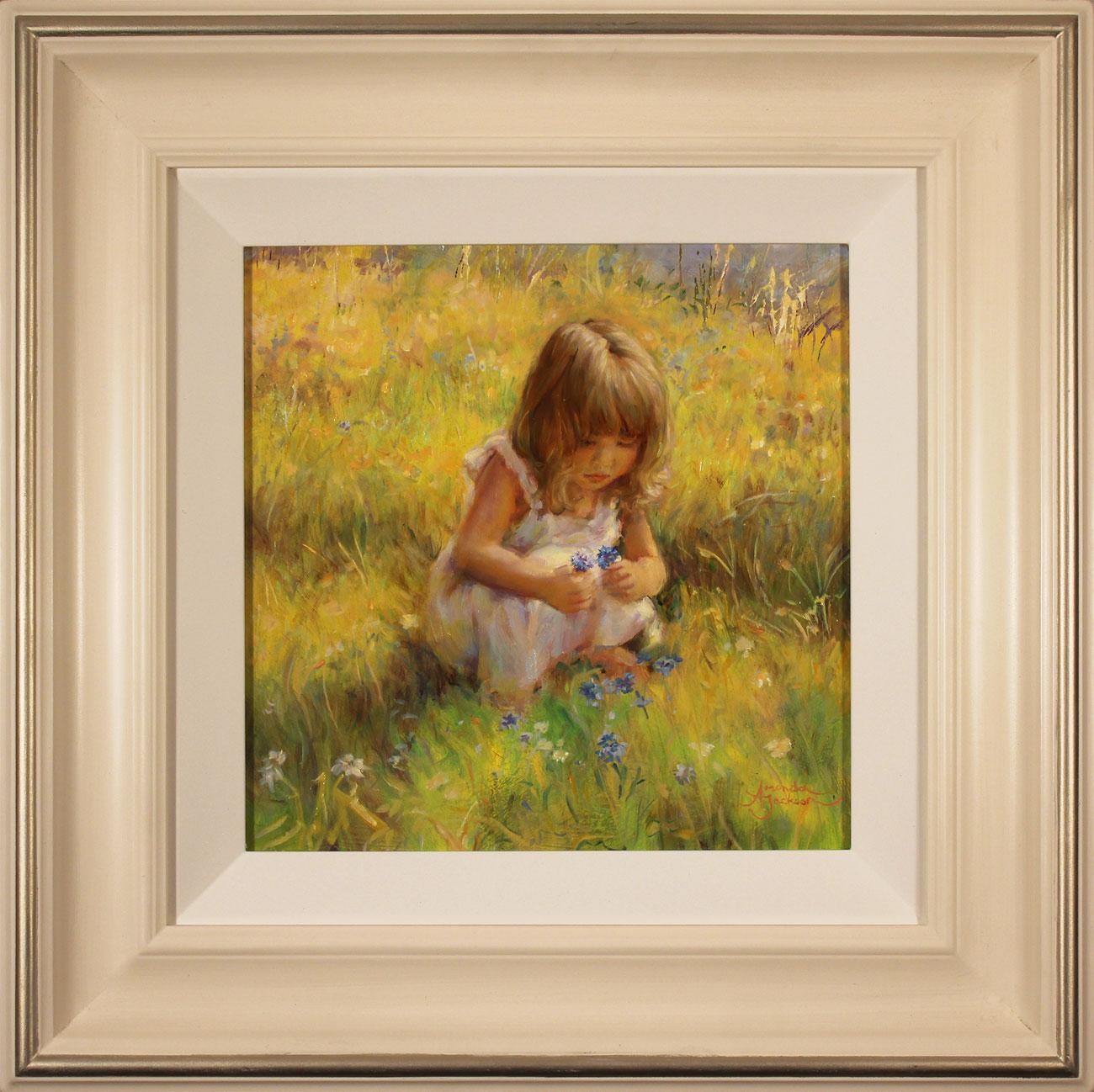 Amanda Jackson, Original oil painting on panel, Cornflowers. Click to enlarge