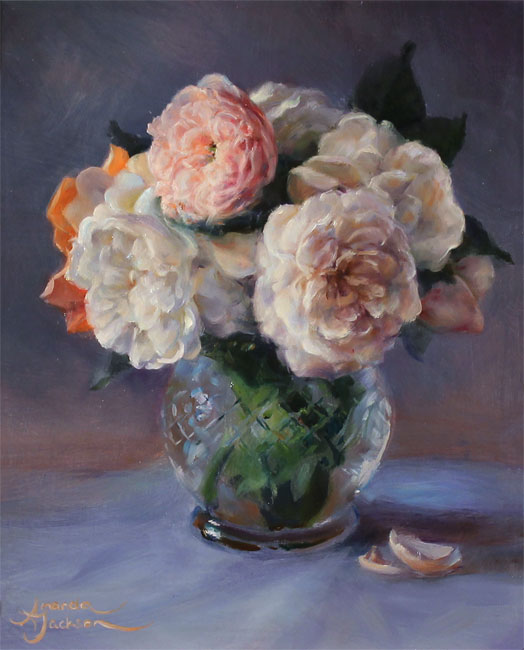 Amanda Jackson, Original oil painting on panel, Garden Bouquet  Without frame image. Click to enlarge