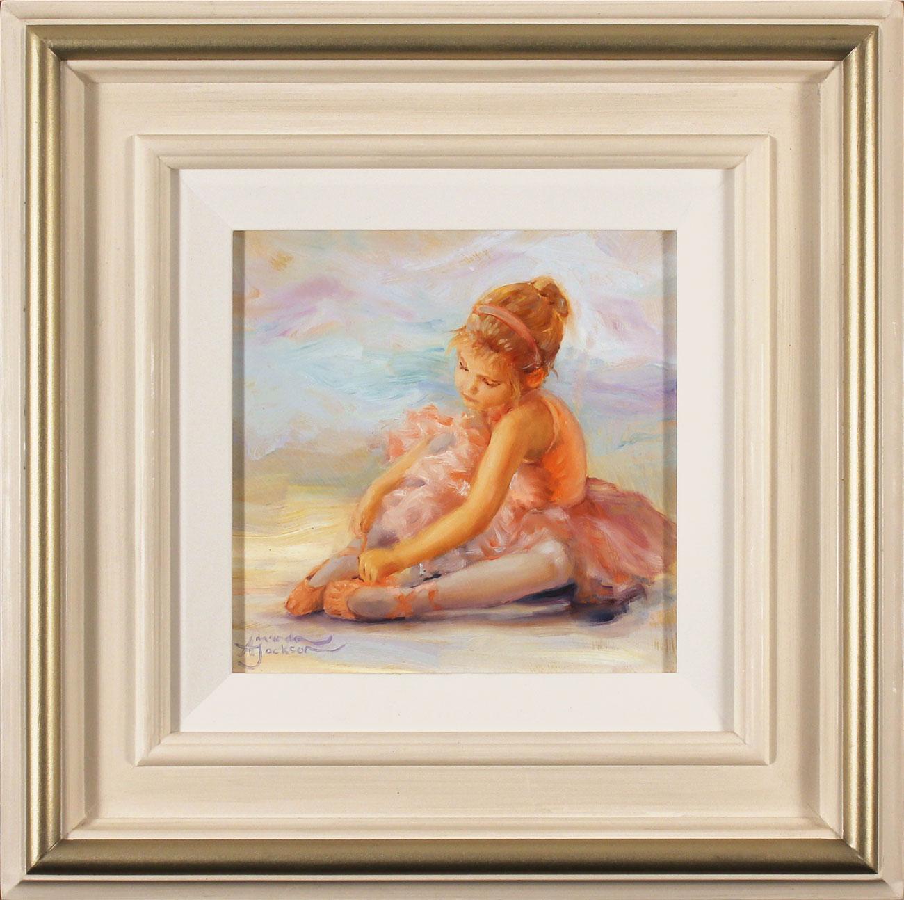 Amanda Jackson, Original oil painting on panel, Tying Ribbons, click to enlarge
