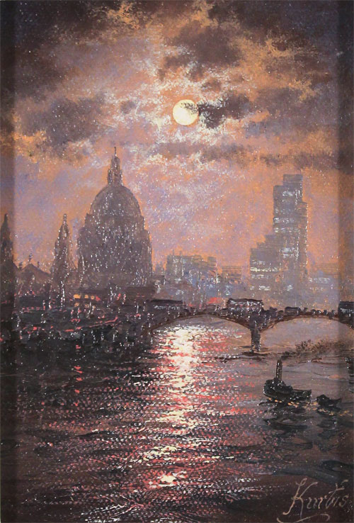 Andrew Grant Kurtis, Original oil painting on canvas, Thames Sparkle No frame image. Click to enlarge