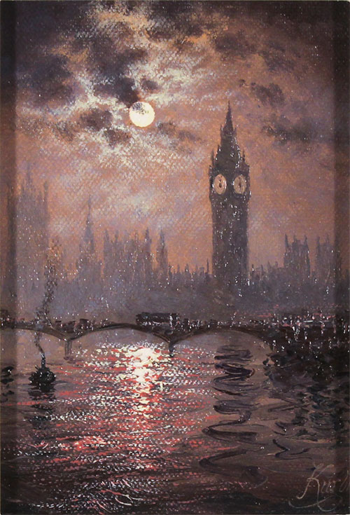 Andrew Grant Kurtis, Original oil painting on canvas, Westminster Chimes at Midnight No frame image. Click to enlarge