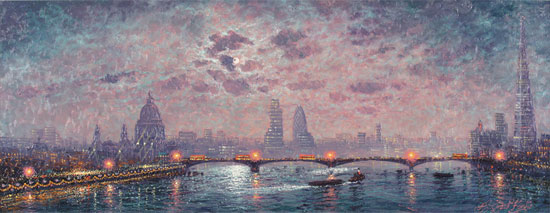 Andrew Grant Kurtis, Original oil painting on panel, The Thames by Moonlight Without frame image. Click to enlarge