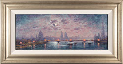 Andrew Grant Kurtis, Original oil painting on panel, The Thames by Moonlight Large image. Click to enlarge