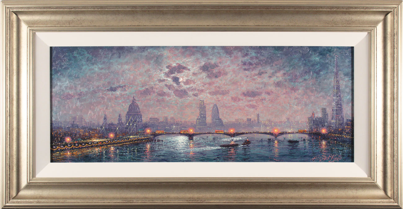 Andrew Grant Kurtis, Original oil painting on panel, The Thames by Moonlight. Click to enlarge