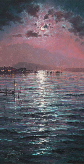 Andrew Grant Kurtis, Original oil painting on canvas, Moonlight Sparkle