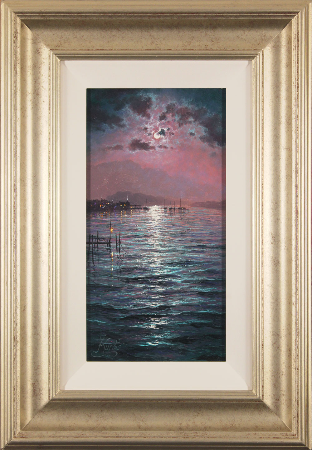 Andrew Grant Kurtis, Original oil painting on canvas, Moonlight Sparkle. Click to enlarge