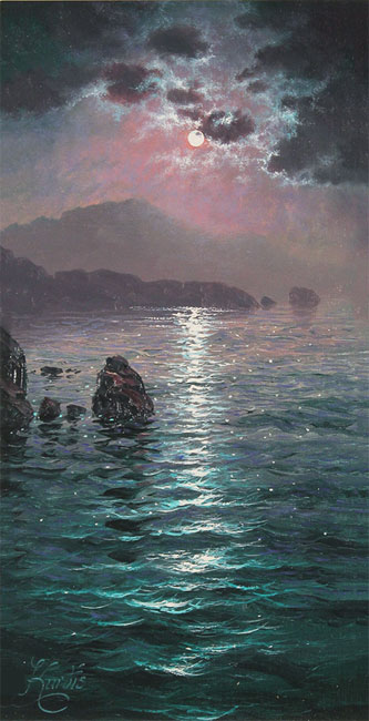 Andrew Grant Kurtis, Original oil painting on canvas, Moonlight Sparkle, Lakeland Without frame image. Click to enlarge