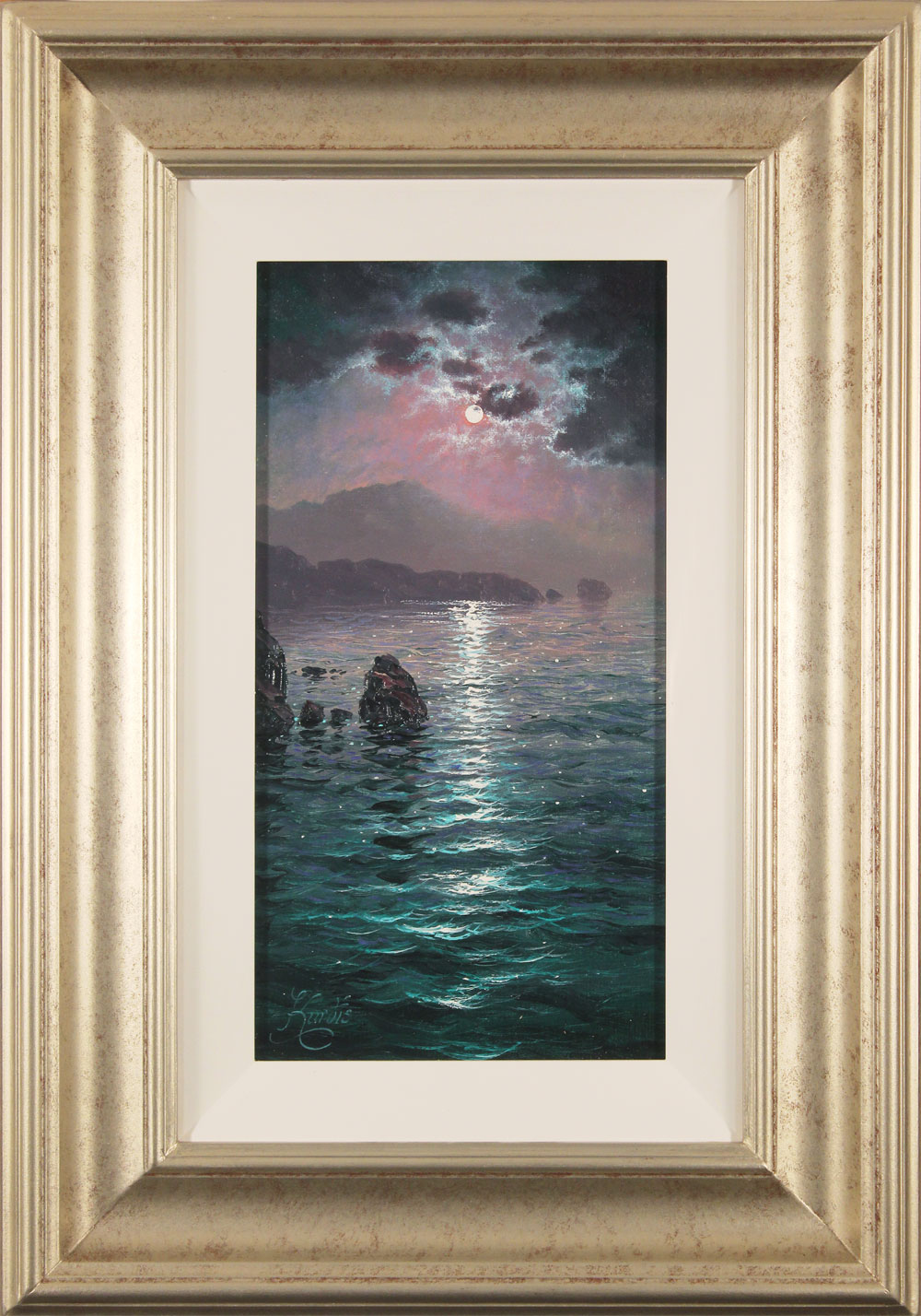 Andrew Grant Kurtis, Original oil painting on canvas, Moonlight Sparkle, Lakeland. Click to enlarge