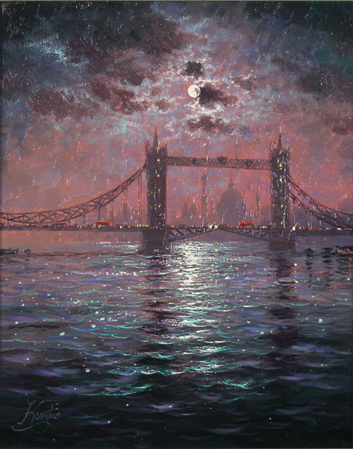 Andrew Grant Kurtis, Original oil painting on canvas, Tower Bridge by Moonlight No frame image. Click to enlarge