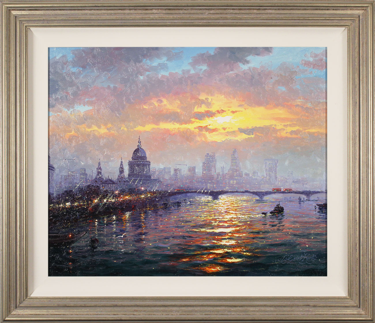 Andrew Grant Kurtis, Original oil painting on canvas, Thames Sparkle, click to enlarge
