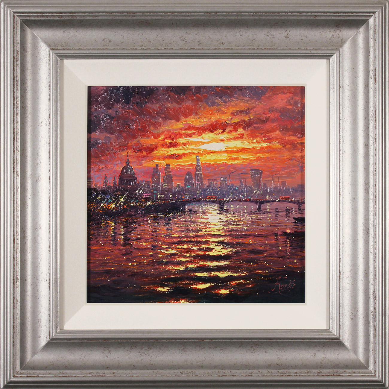 Andrew Grant Kurtis, Original oil painting on canvas, Thames Sparkle at Sunset , click to enlarge