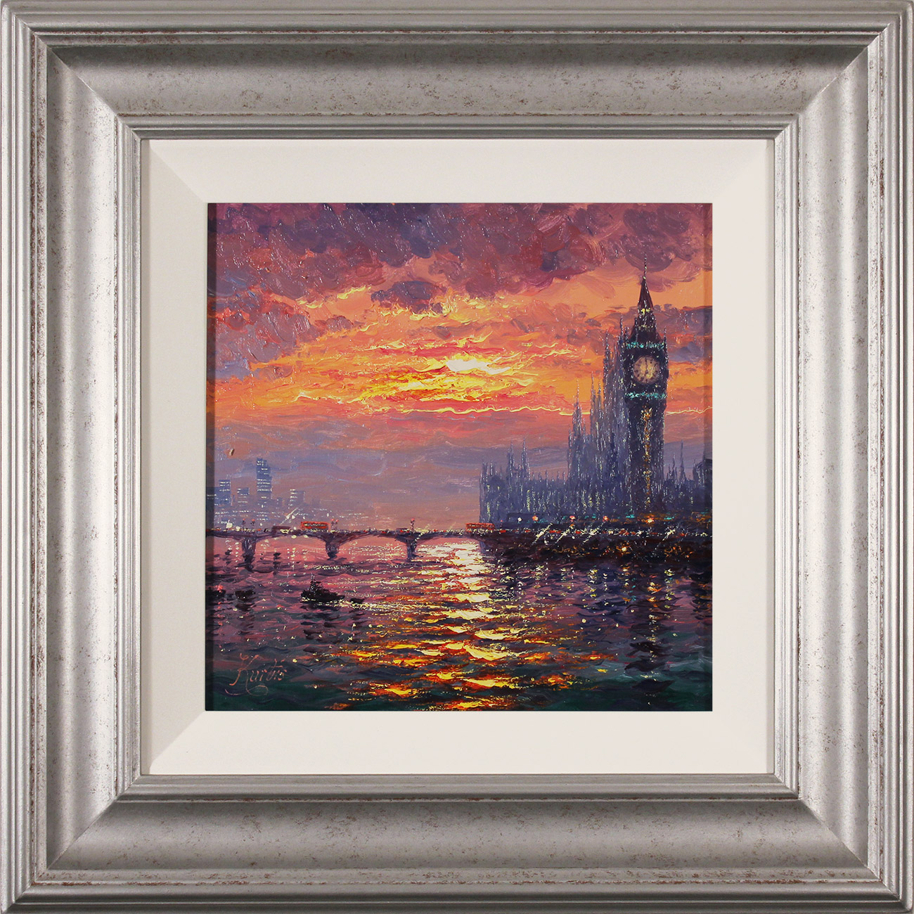 Andrew Grant Kurtis, Original oil painting on canvas, Moonlight Sparkle, Westminster , click to enlarge