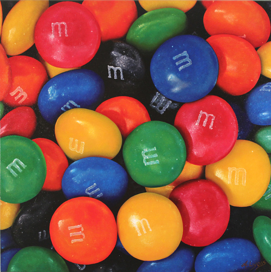 Angela Lyons, Original oil painting on canvas, M&Ms