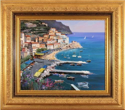 Antonio Ianicelli, Original oil painting on canvas, Amalfi, Italy