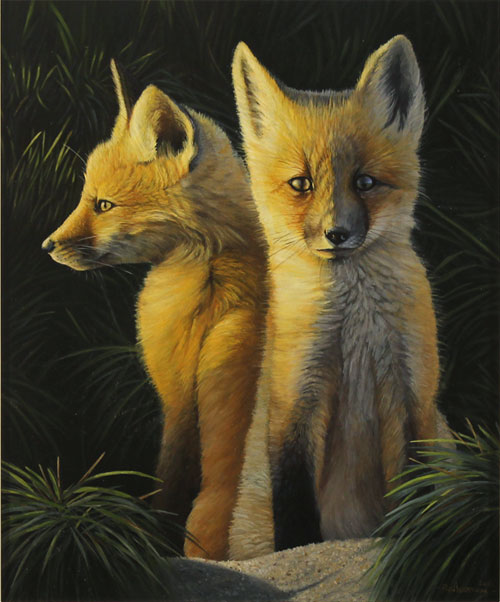 Ben Waddams, Original oil painting on panel, A Curious Pair Without frame image. Click to enlarge