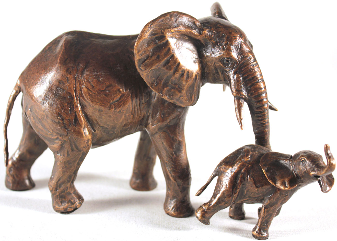 Michael Simpson, Bronze, Elephant Cow and Calf, click to enlarge