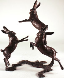 Michael Simpson, Bronze, Medium Hares Playing Large image. Click to enlarge