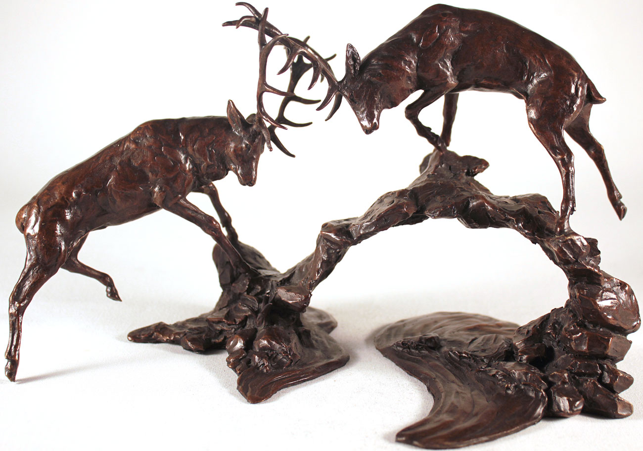 Michael Simpson, Bronze, Rutting Stags Over Water. Click to enlarge