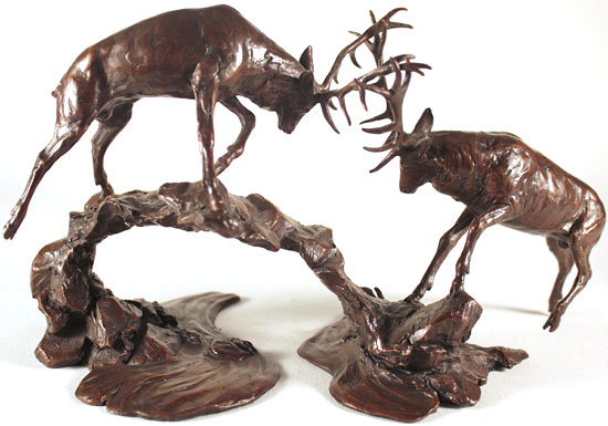 Michael Simpson, Bronze, Rutting Stags Over Water