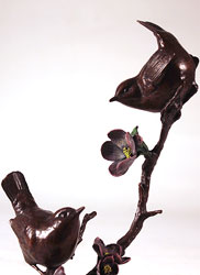 Michael Simpson, Bronze, Apple Blossom, Pair of Wrens
