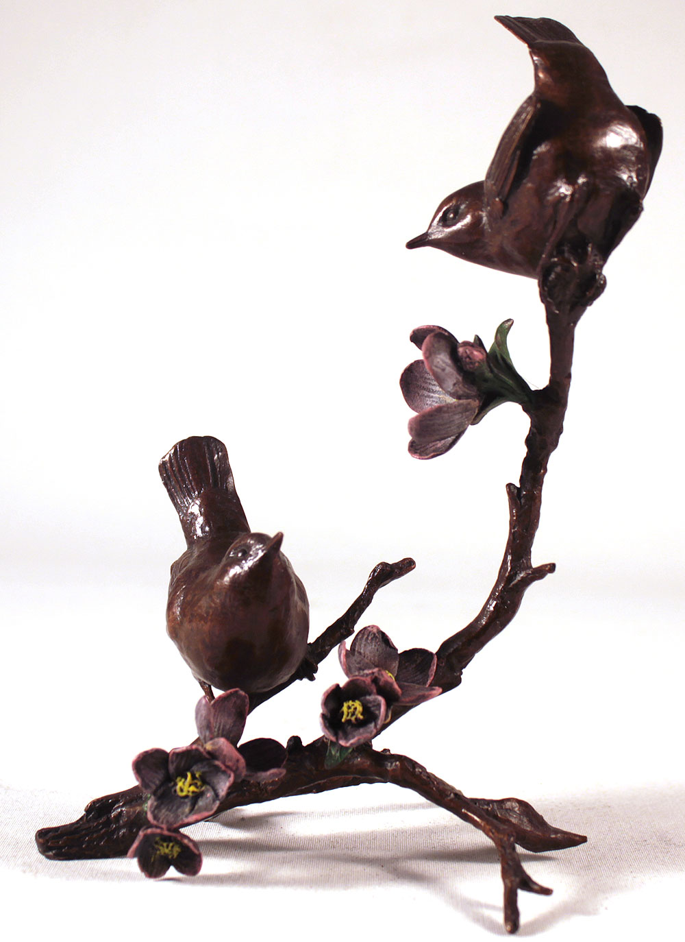 Michael Simpson, Bronze, Apple Blossom, Pair of Wrens, click to enlarge