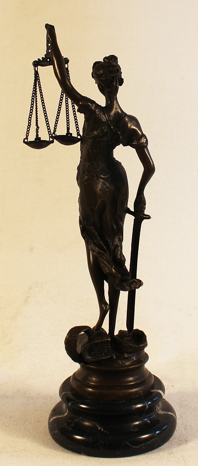 Bronze Statue, Bronze, The Scales of Justice No frame image. Click to enlarge