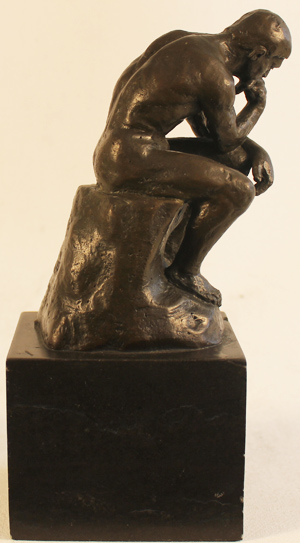 Bronze Statue, Bronze, The Thinker  Without frame image. Click to enlarge
