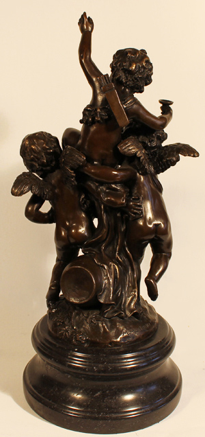 Bronze Statue, Bronze, Three Cherubs, with marble base Without frame image. Click to enlarge
