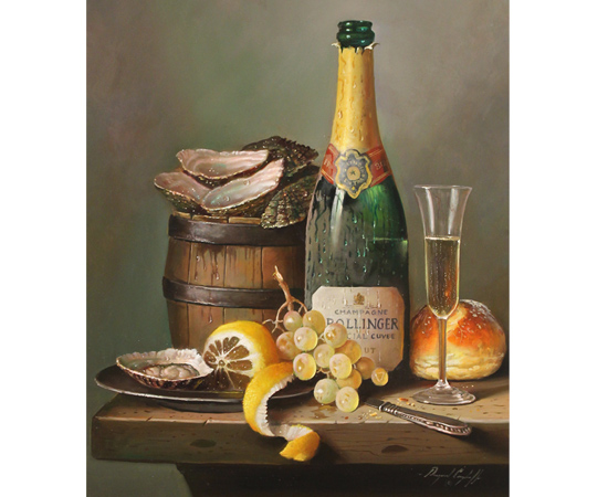 Raymond Campbell, Champagne Indulgence, Original oil painting on panel